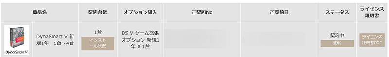 マイページDynaSmartシリーズ購入履歴ステータス