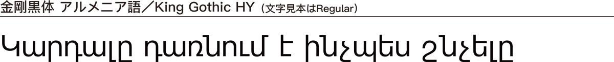 金剛黒体 アルメニア語/King Gothic HY(文字見本はRegular)